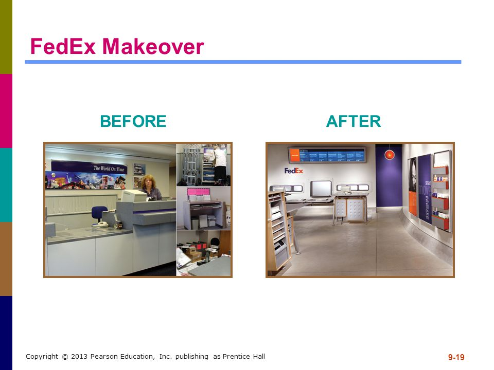 9-19 Copyright © 2013 Pearson Education, Inc. publishing as Prentice Hall FedEx Makeover BEFOREAFTER