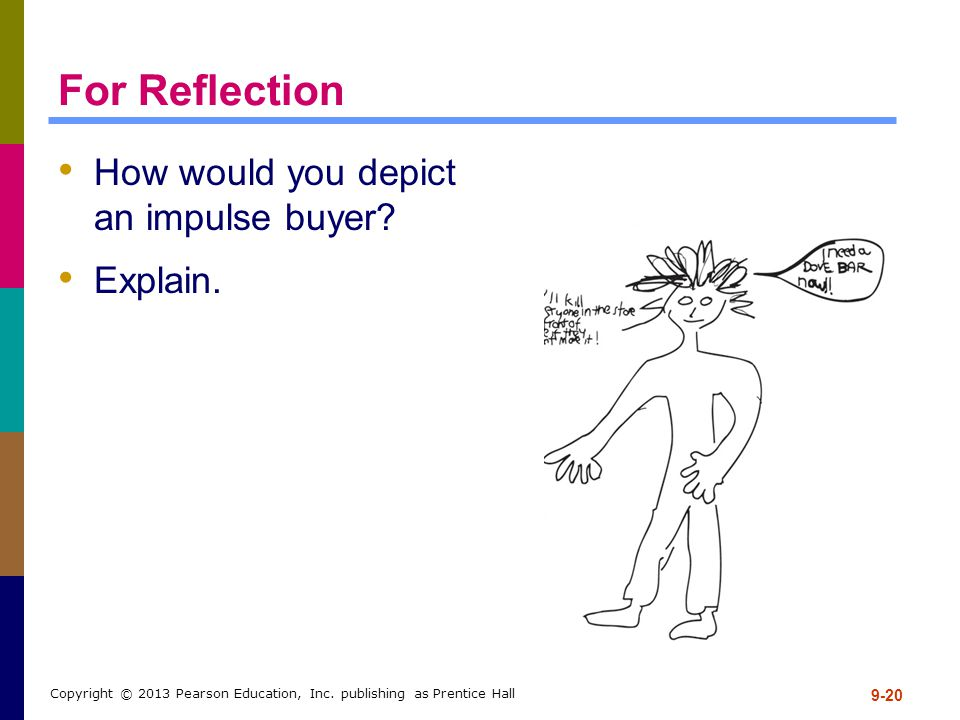 For Reflection How would you depict an impulse buyer? Explain. 9-20 Copyright © 2013 Pearson Education, Inc. publishing as Prentice Hall