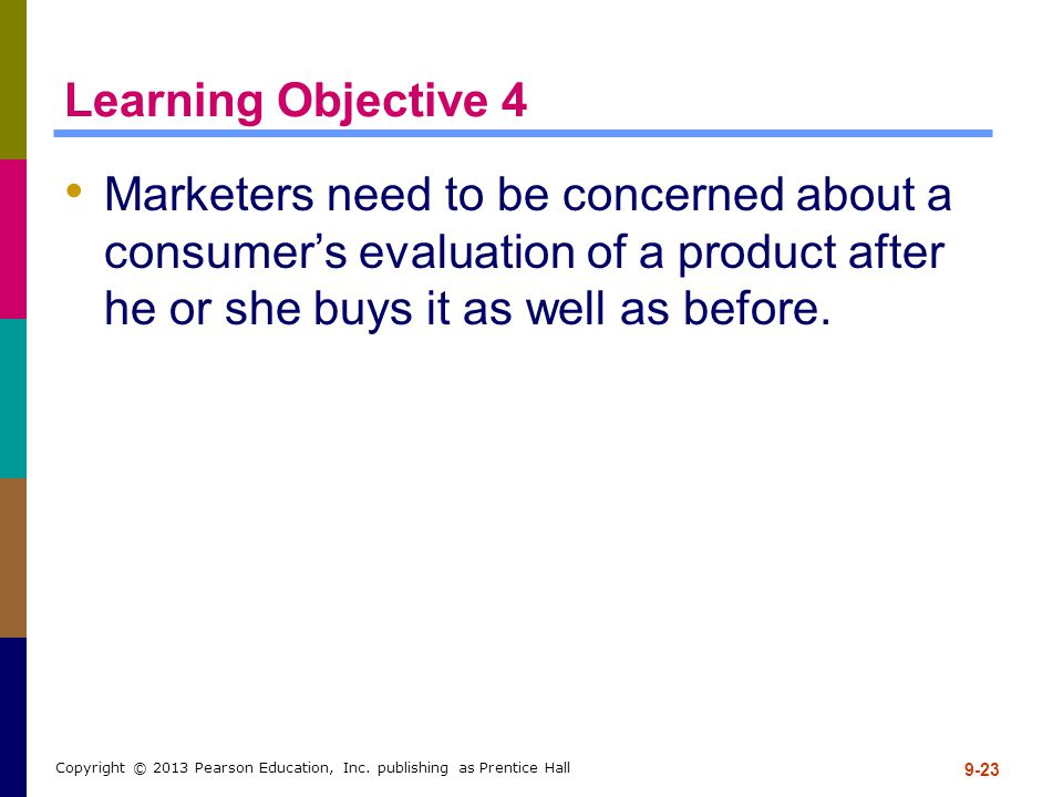 Learning Objective 4 Marketers need to be concerned about a consumer's evaluation of a product after he or she buys it as well as before. 9-23 Copyrig