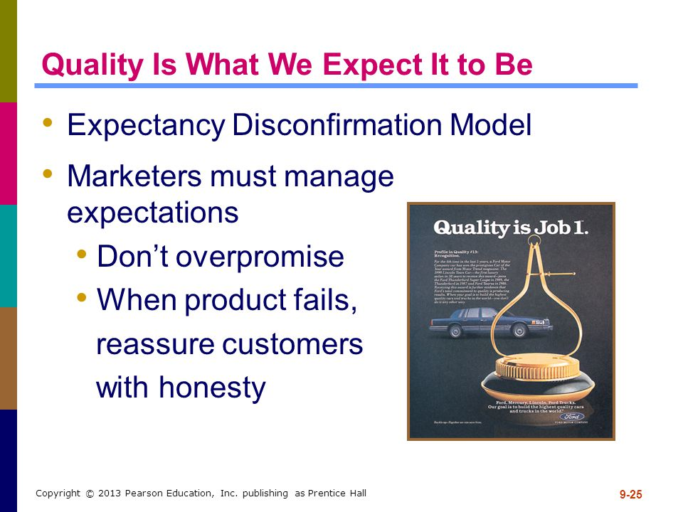 9-25 Copyright © 2013 Pearson Education, Inc. publishing as Prentice Hall Quality Is What We Expect It to Be Expectancy Disconfirmation Model Marketer