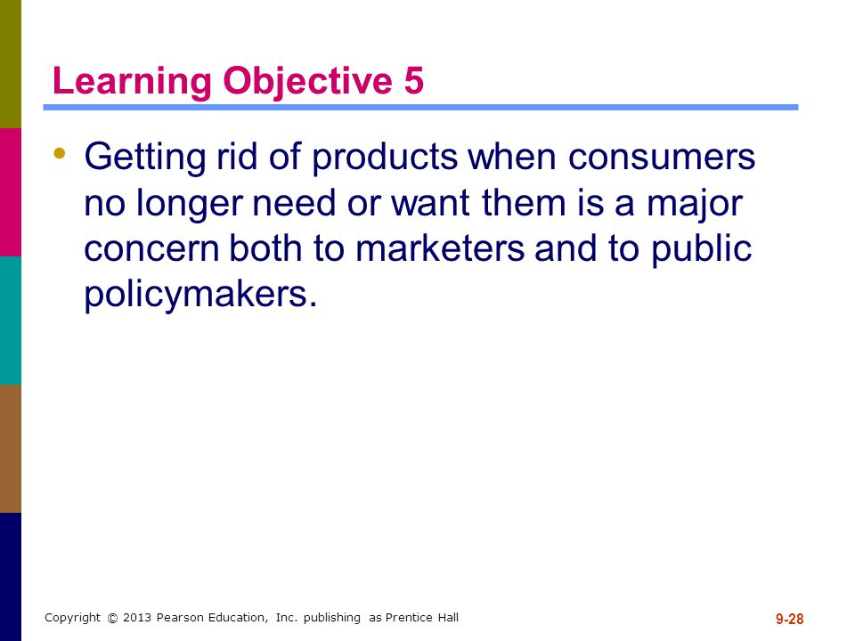 Learning Objective 5 Getting rid of products when consumers no longer need or want them is a major concern both to marketers and to public policymaker