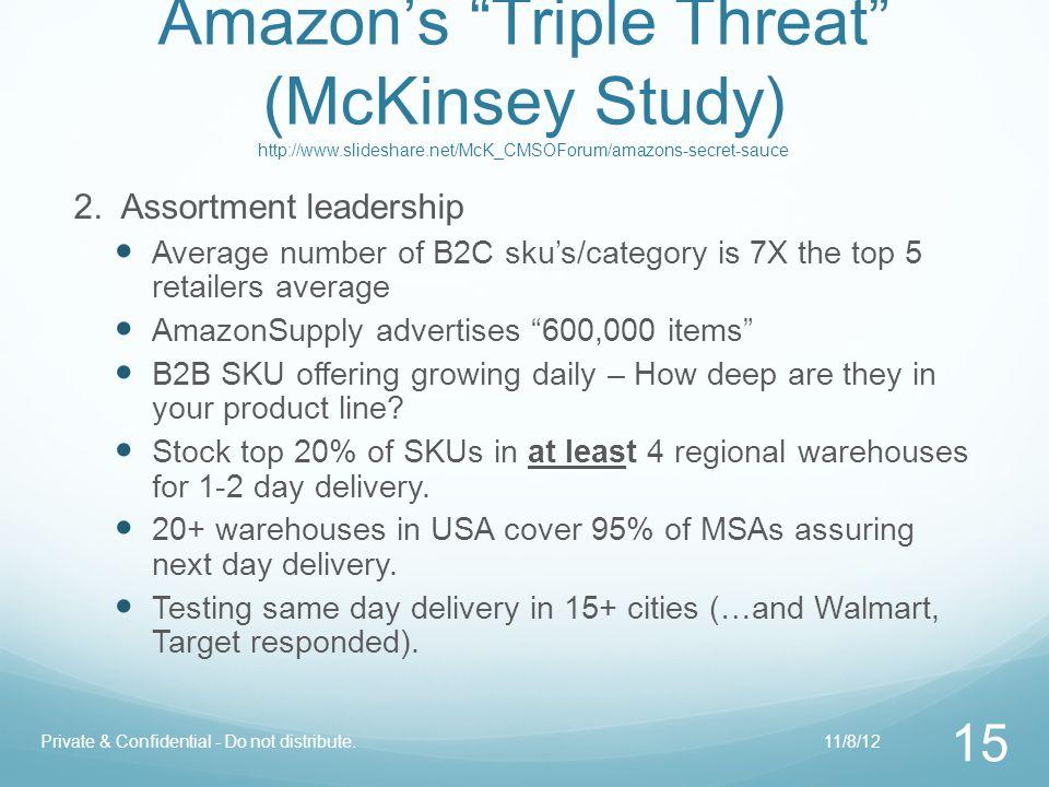 "Amazon's ""Triple Threat"" (McKinsey Study) http://www.slideshare.net/McK_CMSOForum/amazons-secret-sauce 2. Assortment leadership Average number of B2C"