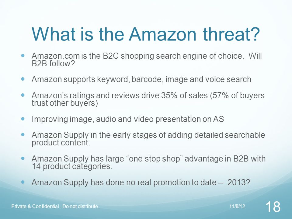 What is the Amazon threat? Amazon.com is the B2C shopping search engine of choice. Will B2B follow? Amazon supports keyword, barcode, image and voice