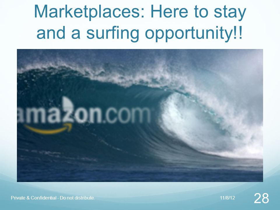 Marketplaces: Here to stay and a surfing opportunity!! 28 Private & Confidential - Do not distribute.11/8/12