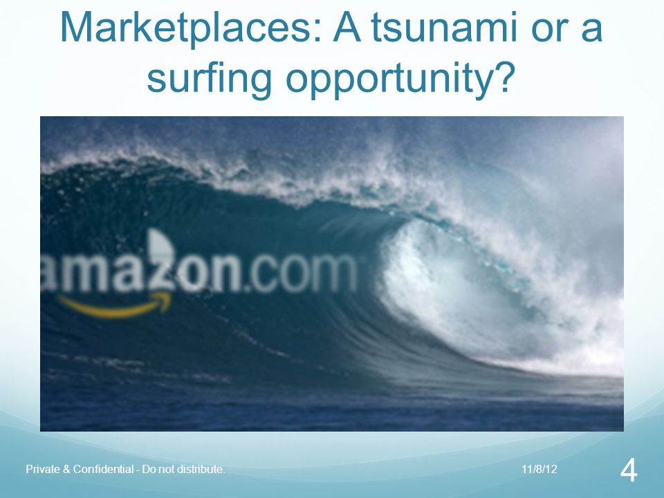 Marketplaces: A tsunami or a surfing opportunity? 4 Private & Confidential - Do not distribute.11/8/12