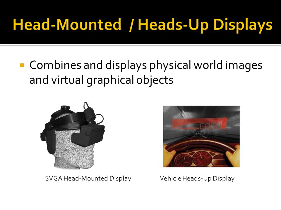 Combines and displays physical world images and virtual graphical objects SVGA Head-Mounted DisplayVehicle Heads-Up Display