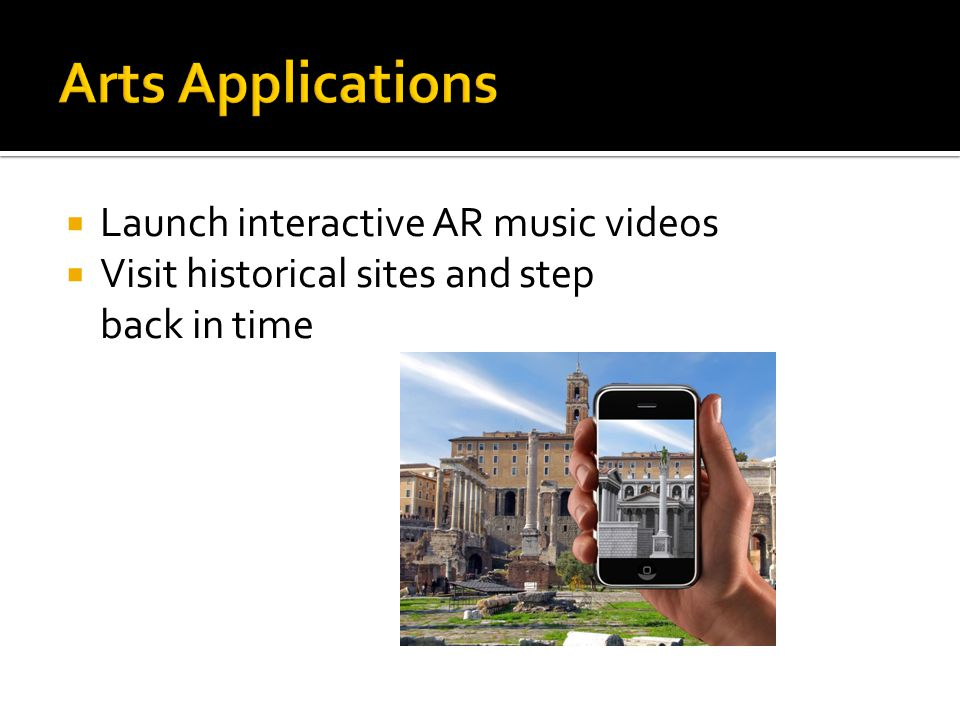  Launch interactive AR music videos  Visit historical sites and step back in time