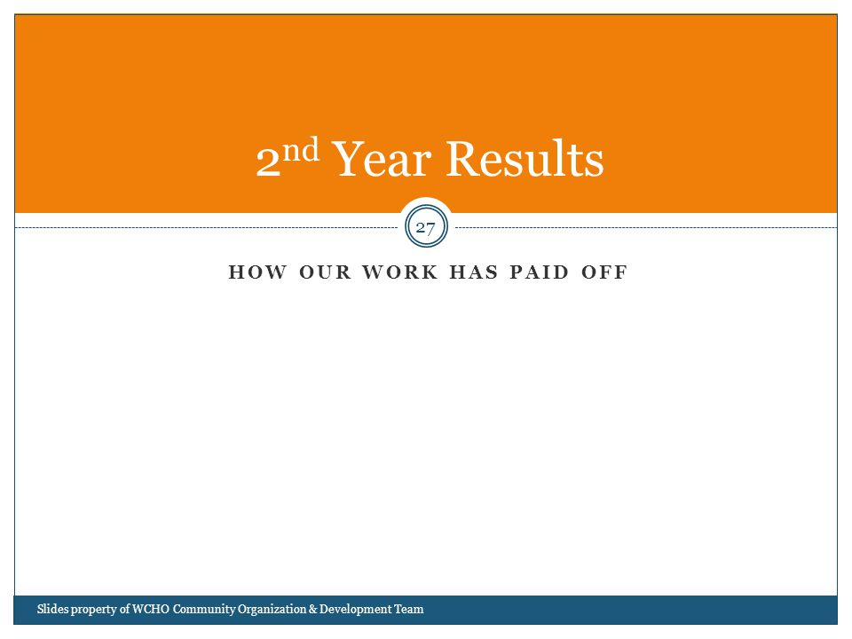 HOW OUR WORK HAS PAID OFF 27 2 nd Year Results Slides property of WCHO Community Organization & Development Team