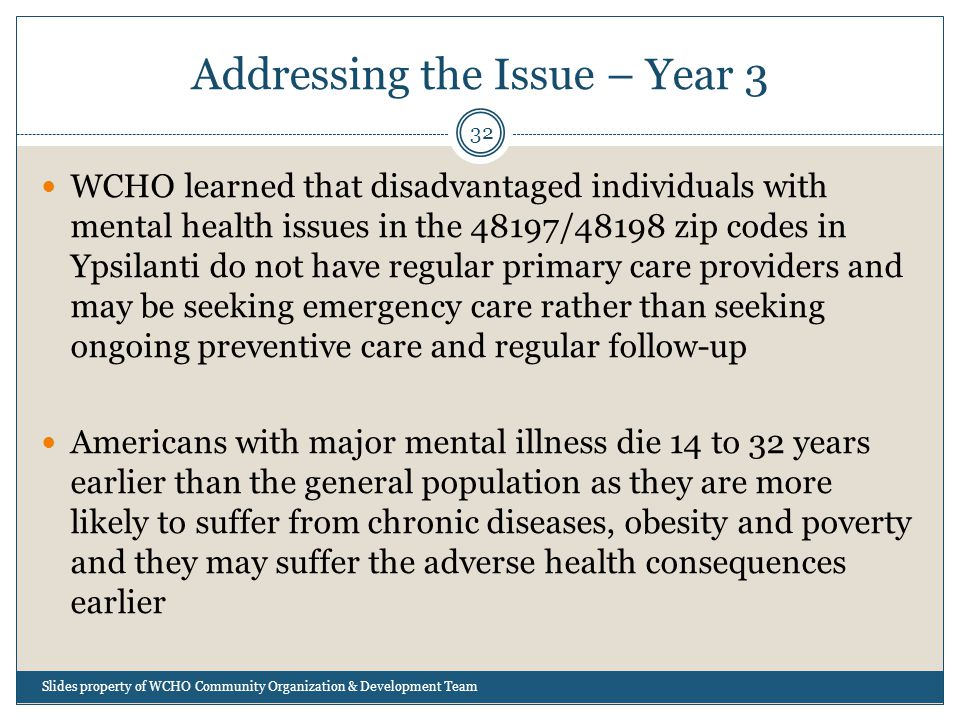 Addressing the Issue – Year 3 32 WCHO learned that disadvantaged individuals with mental health issues in the 48197/48198 zip codes in Ypsilanti do not have regular primary care providers and may be seeking emergency care rather than seeking ongoing preventive care and regular follow-up Americans with major mental illness die 14 to 32 years earlier than the general population as they are more likely to suffer from chronic diseases, obesity and poverty and they may suffer the adverse health consequences earlier Slides property of WCHO Community Organization & Development Team