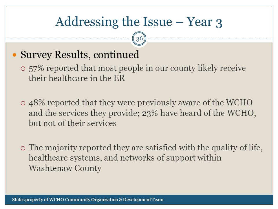 Addressing the Issue – Year 3 Slides property of WCHO Community Organization & Development Team 36 Survey Results, continued  57% reported that most people in our county likely receive their healthcare in the ER  48% reported that they were previously aware of the WCHO and the services they provide; 23% have heard of the WCHO, but not of their services  The majority reported they are satisfied with the quality of life, healthcare systems, and networks of support within Washtenaw County