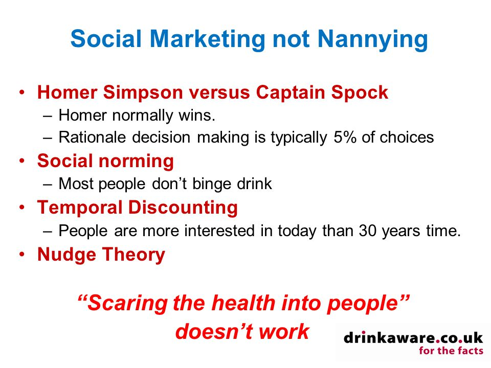 Social Marketing not Nannying Homer Simpson versus Captain Spock –Homer normally wins.