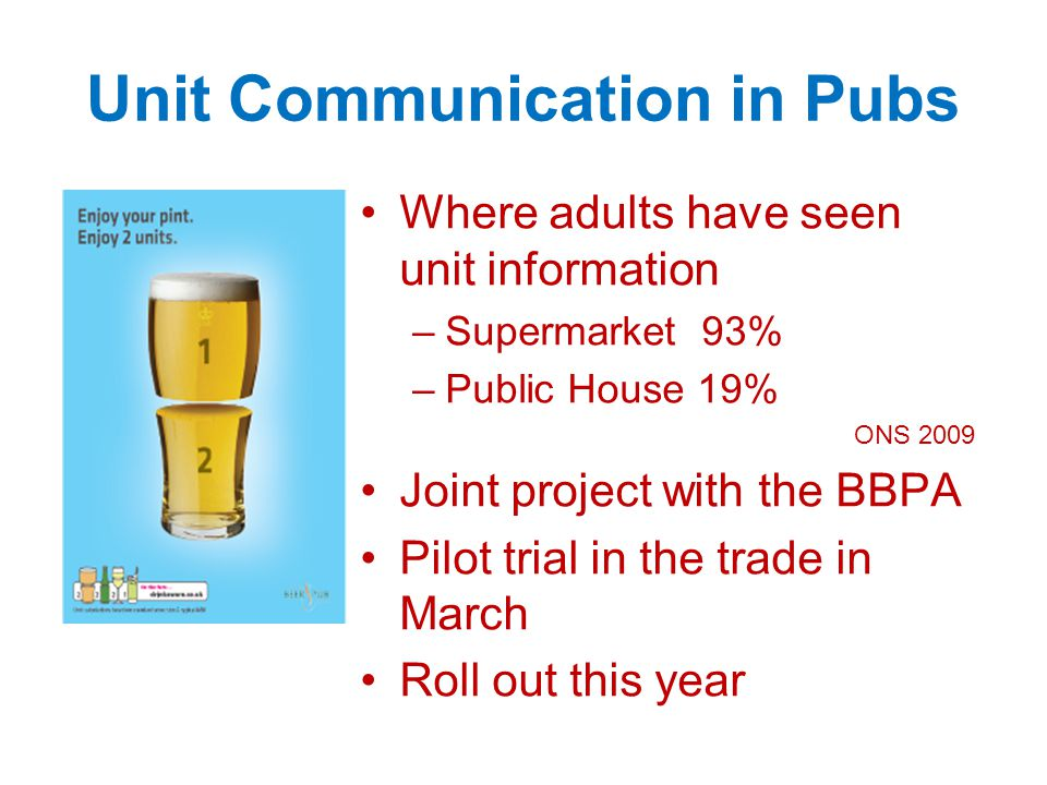 Unit Communication in Pubs Where adults have seen unit information –Supermarket 93% –Public House 19% ONS 2009 Joint project with the BBPA Pilot trial in the trade in March Roll out this year