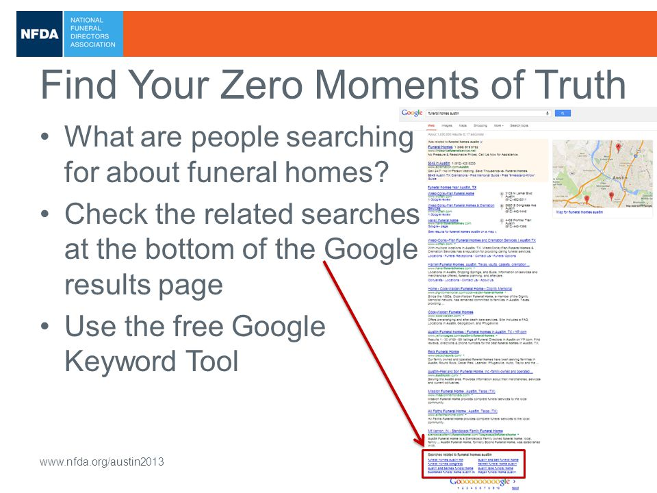 2013 NFDA International Convention & Expo www.nfda.org/austin2013 Find Your Zero Moments of Truth What are people searching for about funeral homes.