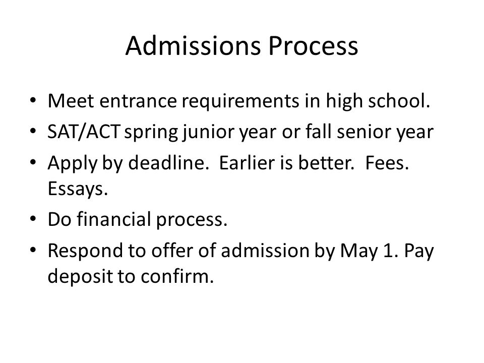Admissions Process Meet entrance requirements in high school.