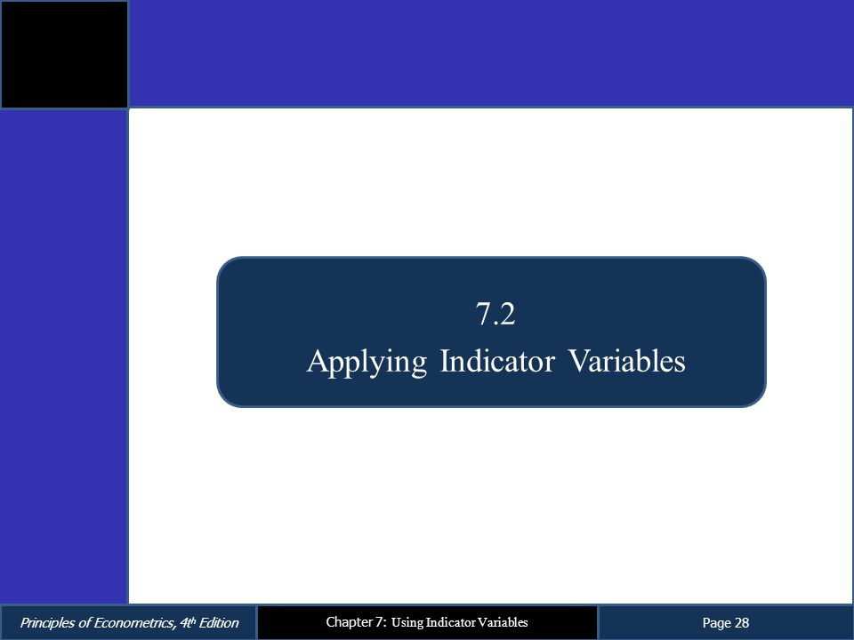 Principles of Econometrics, 4t h EditionPage 28 Chapter 7: Using Indicator Variables 7.2 Applying Indicator Variables