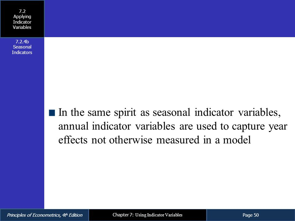 Principles of Econometrics, 4t h EditionPage 50 Chapter 7: Using Indicator Variables In the same spirit as seasonal indicator variables, annual indica