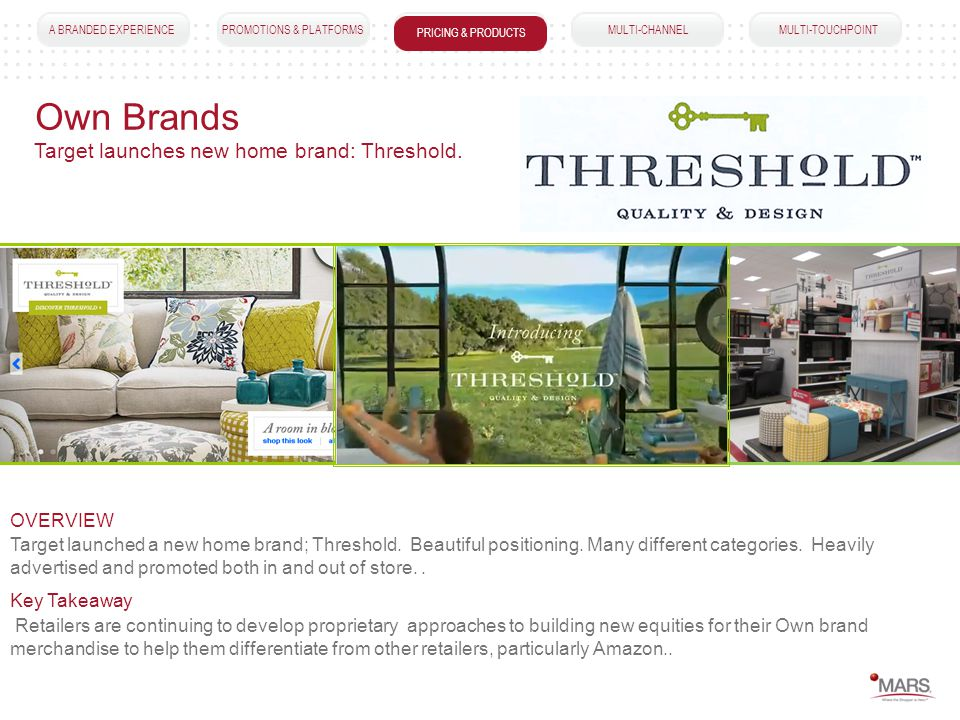 A BRANDED EXPERIENCEPROMOTIONS & PLATFORMSPRICING & PRODUCTS MULTI-CHANNEL MULTI-TOUCHPOINT Own Brands PRICING & PRODUCTS Target launched a new home brand; Threshold.
