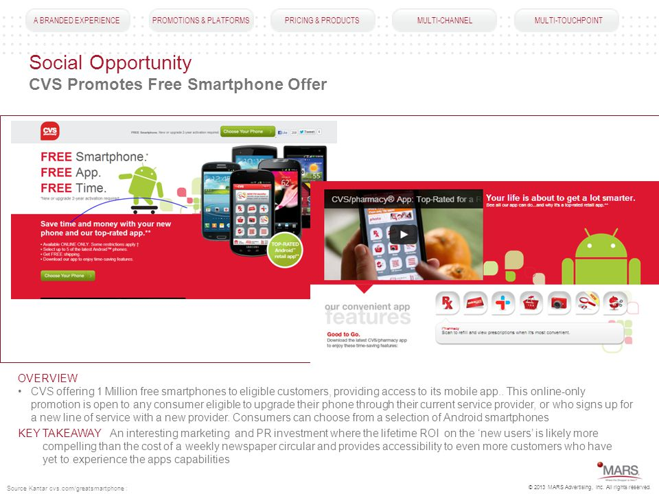 A BRANDED EXPERIENCEPROMOTIONS & PLATFORMSPRICING & PRODUCTS MULTI-CHANNEL MULTI-TOUCHPOINT Social Opportunity CVS Promotes Free Smartphone Offer OVERVIEW CVS offering 1 Million free smartphones to eligible customers, providing access to its mobile app..