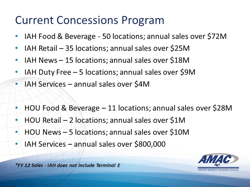 Current Concessions Program IAH Food & Beverage - 50 locations; annual sales over $72M IAH Retail – 35 locations; annual sales over $25M IAH News – 15