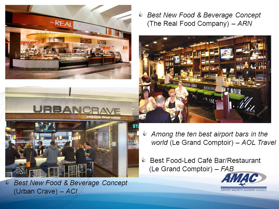 Best New Food & Beverage Concept (The Real Food Company) – ARN  Best New Food & Beverage Concept (Urban Crave) – ACI  Among the ten best airport bars in the world (Le Grand Comptoir) – AOL Travel  Best Food-Led Café Bar/Restaurant (Le Grand Comptoir) – FAB