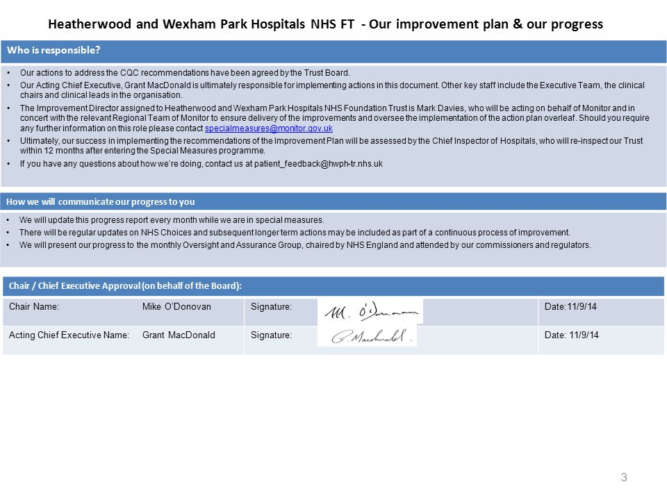 Heatherwood and Wexham Park Hospitals NHS FT - Our improvement plan & our progress Who is responsible.