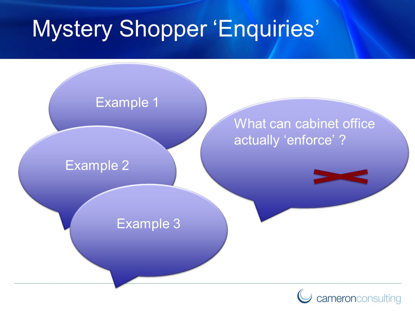 Mystery Shopper 'Enquiries' Example 1 What can cabinet office actually 'enforce' ? Example 2 Example 3