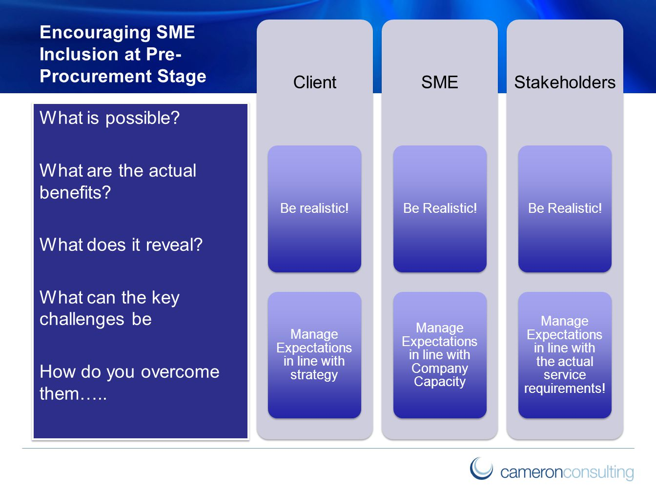 Encouraging SME Inclusion at Pre- Procurement Stage Client Be realistic.