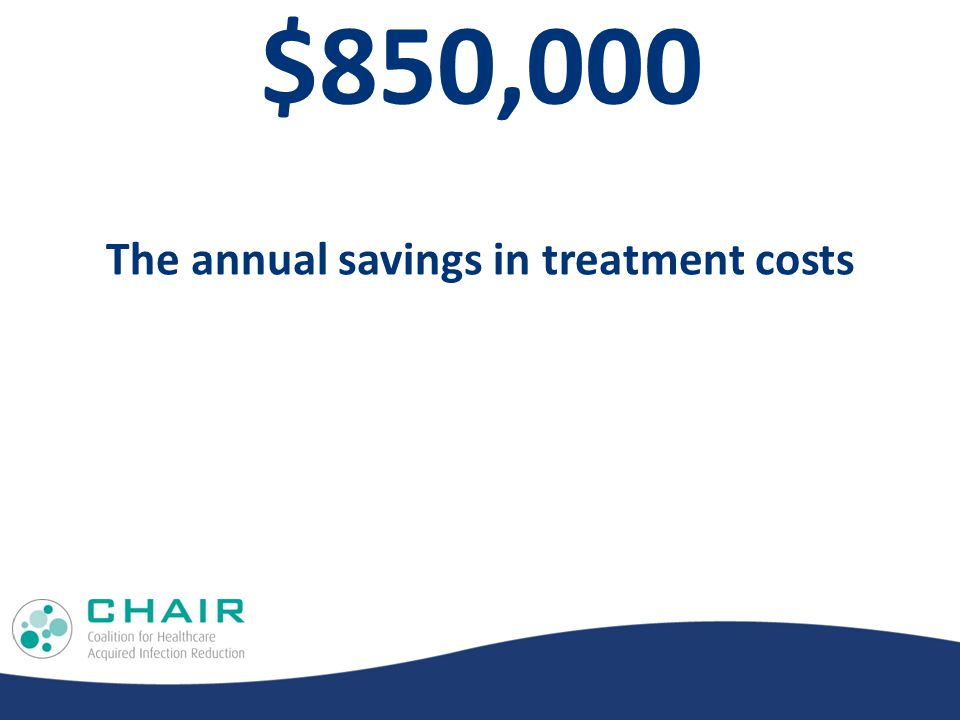 $850,000 The annual savings in treatment costs
