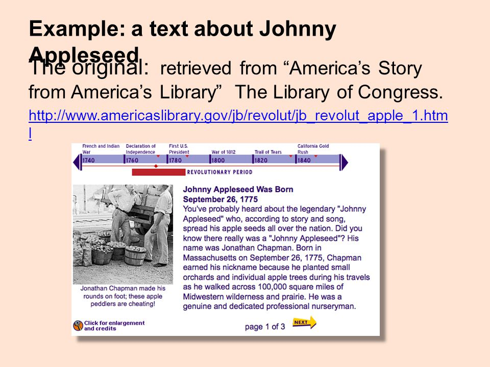 """Example: a text about Johnny Appleseed The original: retrieved from """"America's Story from America's Library"""" The Library of Congress. http://www.ameri"""