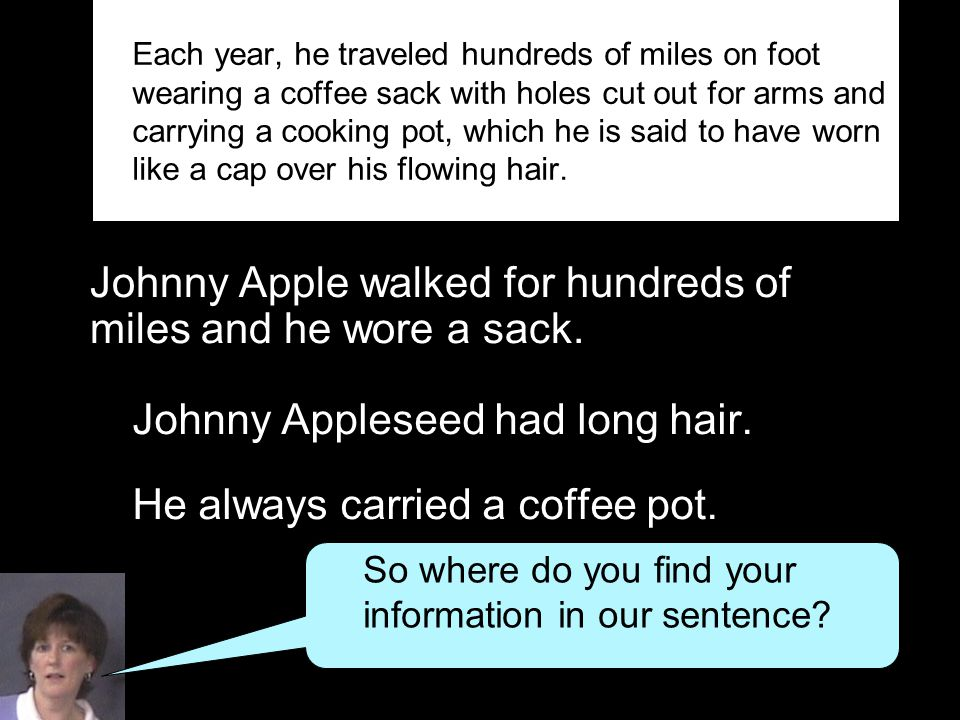 Johnny Apple walked for hundreds of miles and he wore a sack. Johnny Appleseed had long hair. He always carried a coffee pot. Each year, he traveled h