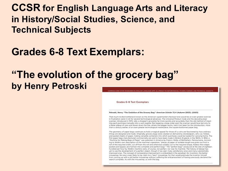 """CCSR for English Language Arts and Literacy in History/Social Studies, Science, and Technical Subjects Grades 6-8 Text Exemplars: """"The evolution of th"""
