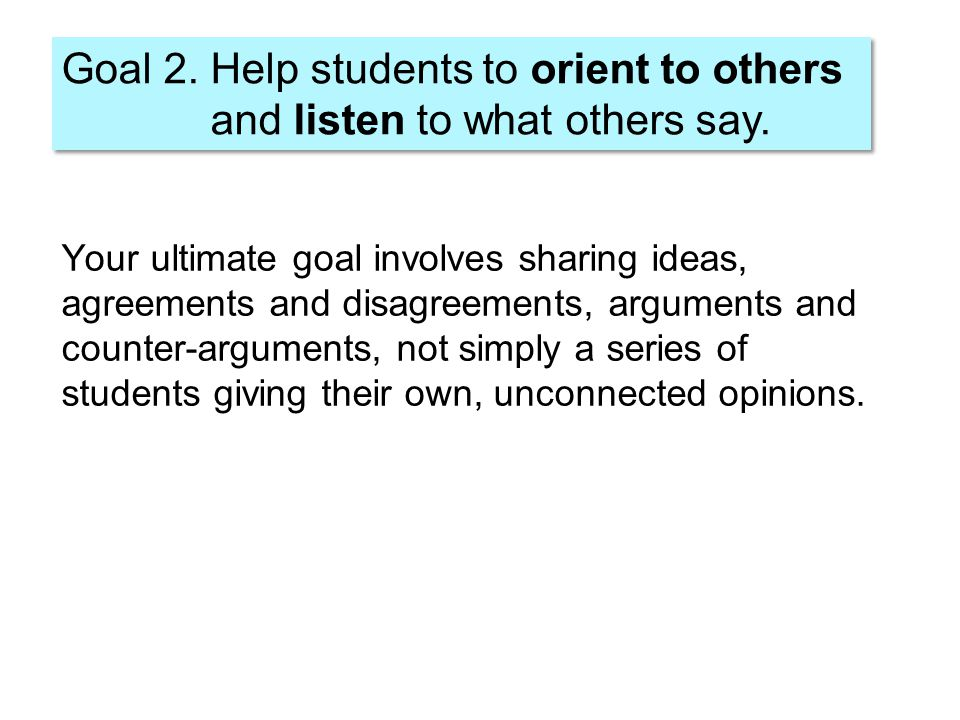 Your ultimate goal involves sharing ideas, agreements and disagreements, arguments and counter-arguments, not simply a series of students giving their