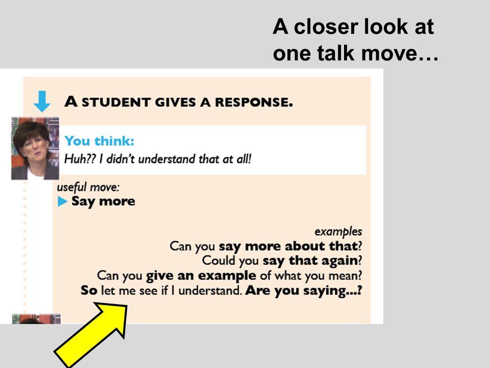 A closer look at one talk move…
