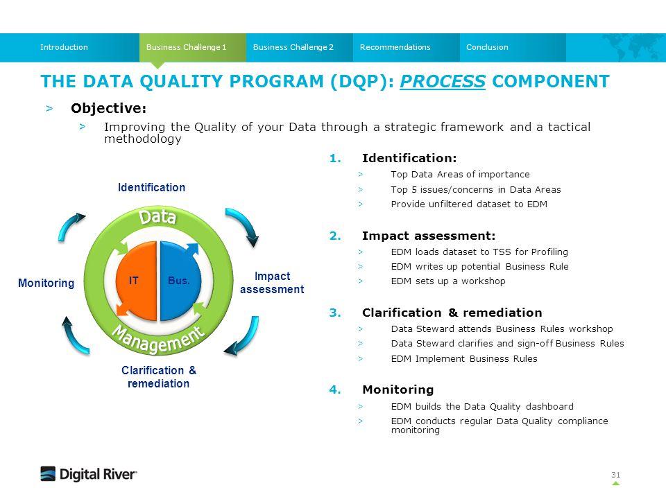 THE DATA QUALITY PROGRAM (DQP): PROCESS COMPONENT Business Challenge 1IntroductionBusiness Challenge 2RecommendationsConclusion Identification Impact