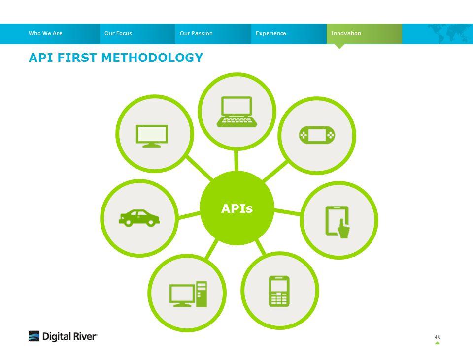 API FIRST METHODOLOGY 40 Who We AreOur FocusOur PassionExperienceInnovation APIs