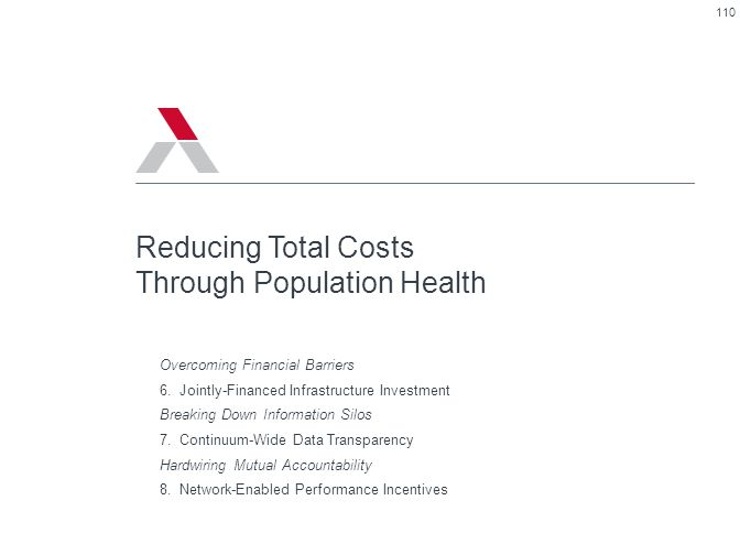 110 Reducing Total Costs Through Population Health Overcoming Financial Barriers 6.Jointly-Financed Infrastructure Investment Breaking Down Informatio