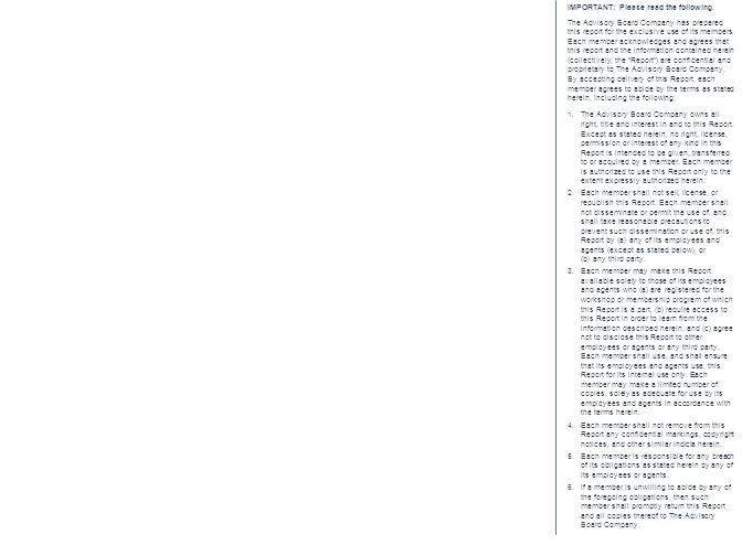 © 2014 The Advisory Board Company advisory.com 28603A 55 Source: Health Care Advisory Board interviews and analysis.