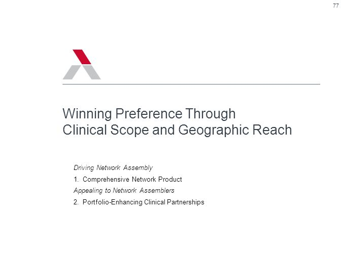77 Winning Preference Through Clinical Scope and Geographic Reach Driving Network Assembly 1.Comprehensive Network Product Appealing to Network Assemb