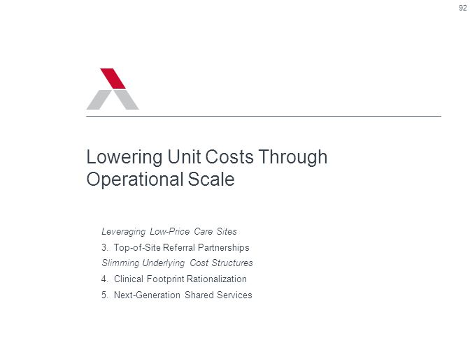 92 Lowering Unit Costs Through Operational Scale Leveraging Low-Price Care Sites 3.Top-of-Site Referral Partnerships Slimming Underlying Cost Structur