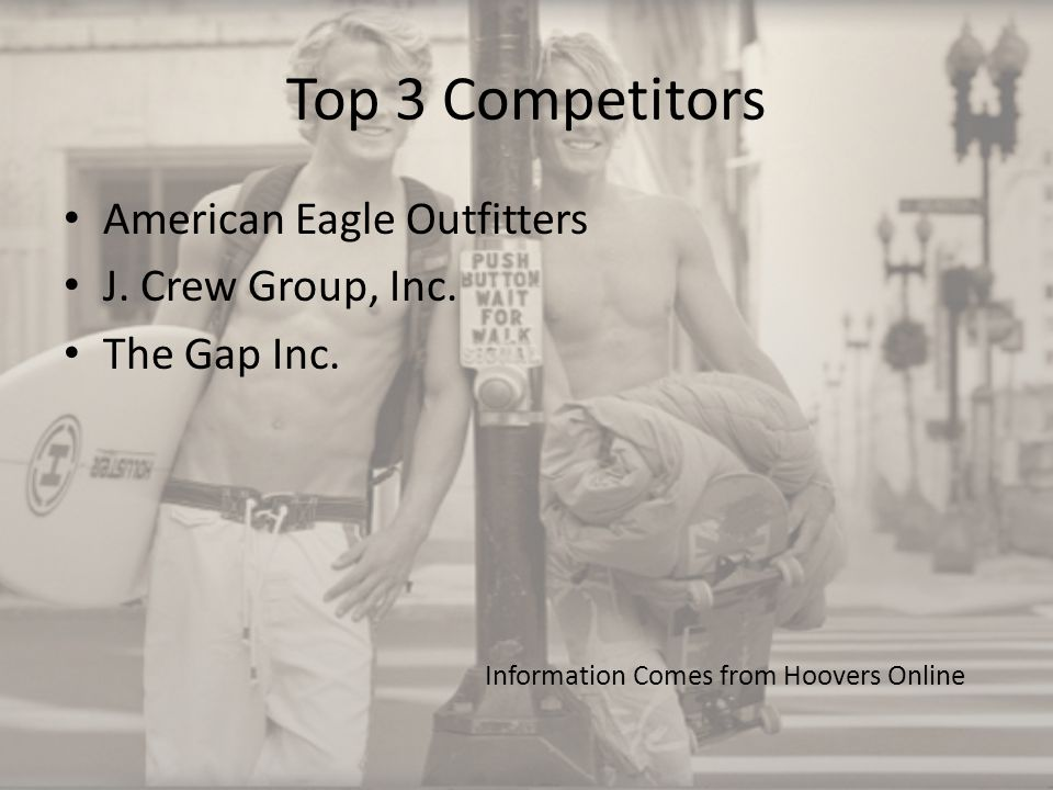 Top 3 Competitors American Eagle Outfitters J. Crew Group, Inc.