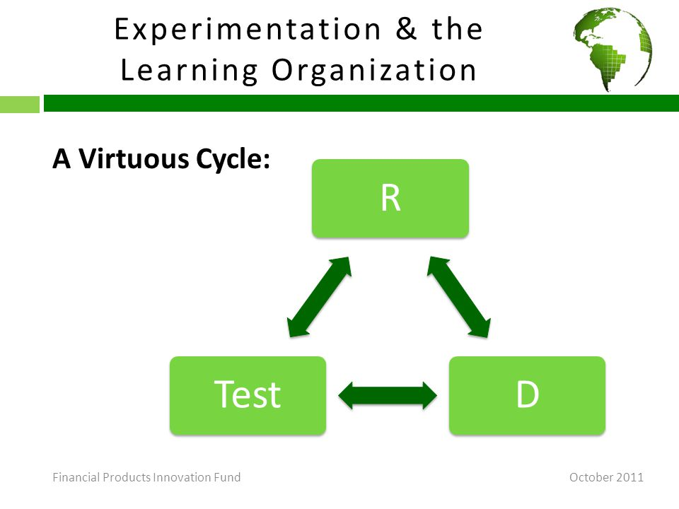 Experimentation & the Learning Organization October 2011 A Virtuous Cycle: RDTest Financial Products Innovation Fund