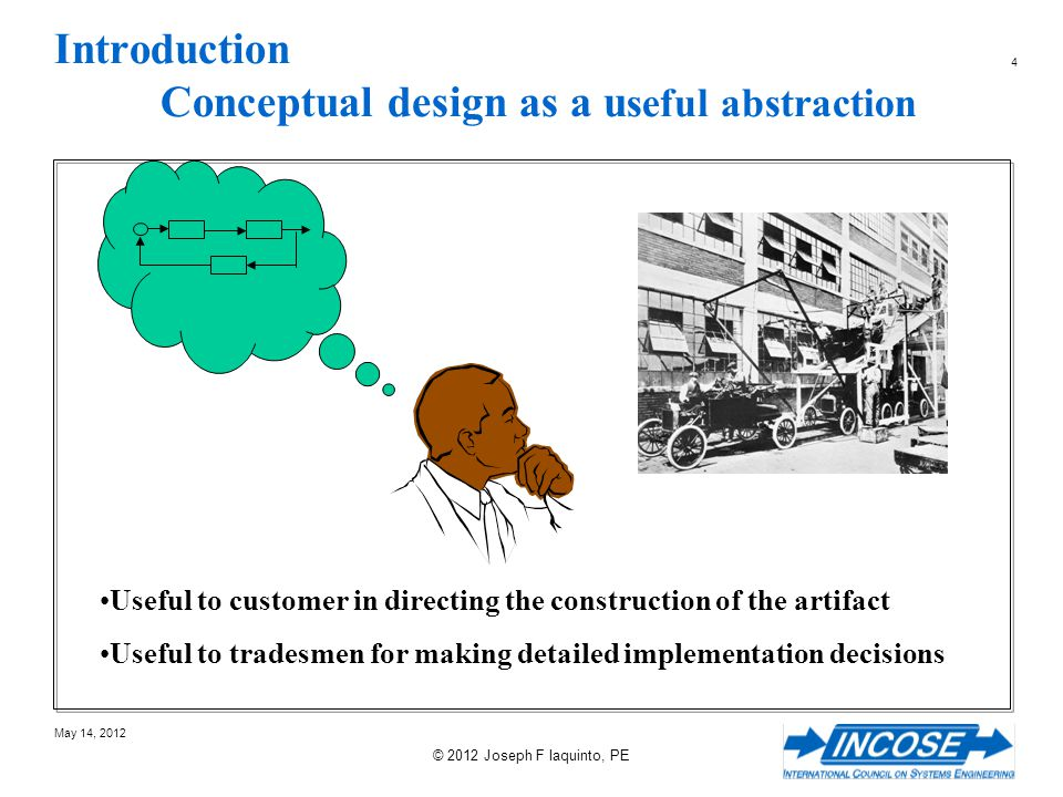 105 May 14, 2012 © 2012 Joseph F Iaquinto, PE Common Conceptual Design Fallacies Use of UML Cartoons - Generalization Classes have attributes (data) and methods (executable code) Notion of Inheritance means copy attributes and methods = shared data and code Real physical things have properties that result from their unique construction / composition Kind of does not mean inheritance.