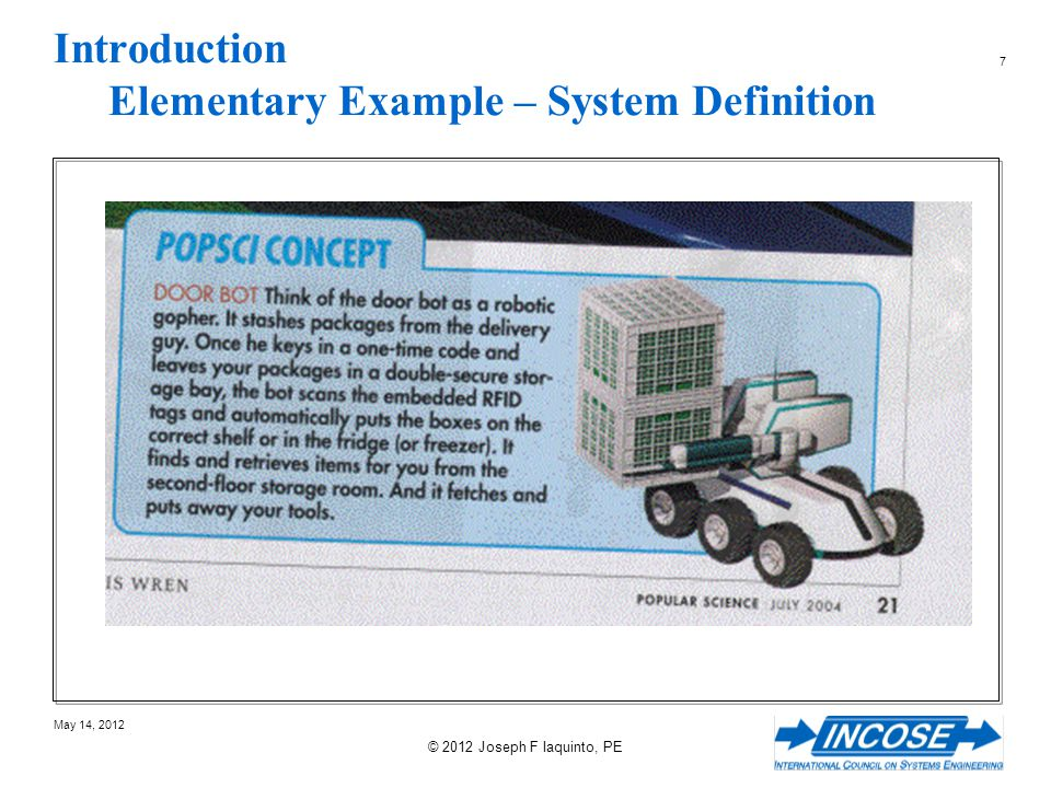 178 May 14, 2012 © 2012 Joseph F Iaquinto, PE Topics For Session 4 Example The CONOPS The System Requirements Specification The Architecture
