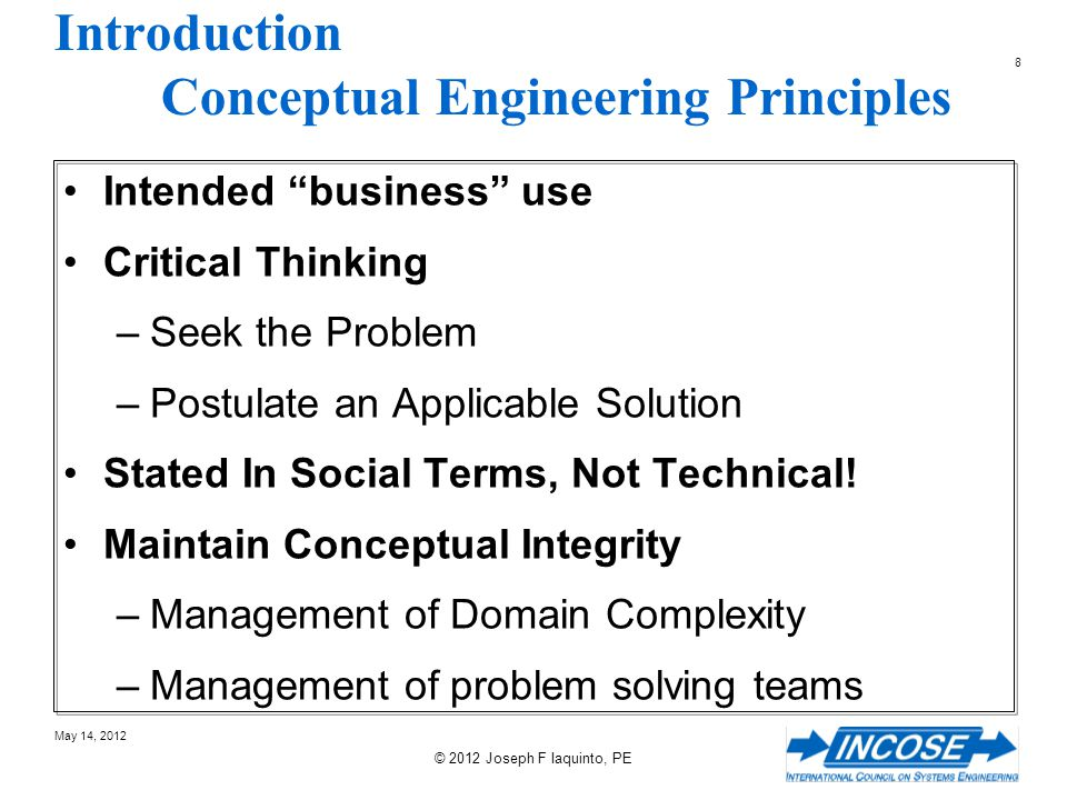 189 May 14, 2012 © 2012 Joseph F Iaquinto, PE A Process for defining the CONOPS Define the Business Events Define Representative Scenarios Define Operational Capabilities Define Structure, Function, Behavior Organize Functionality Into States and Modes Define the Problem Define the Roles and Responsibilities