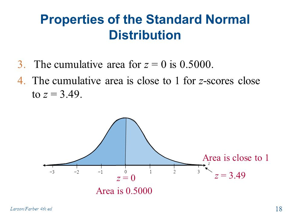 z = 3.49 Area is close to 1 Properties of the Standard Normal Distribution 3.The cumulative area for z = 0 is 0.5000. 4.The cumulative area is close t