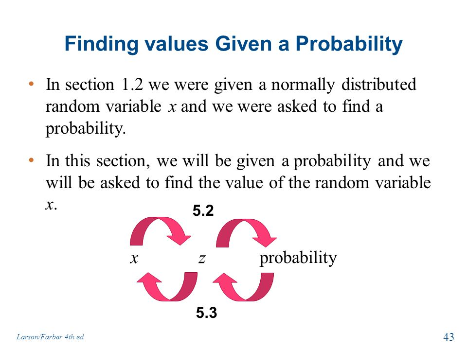 Finding values Given a Probability In section 1.2 we were given a normally distributed random variable x and we were asked to find a probability. In t