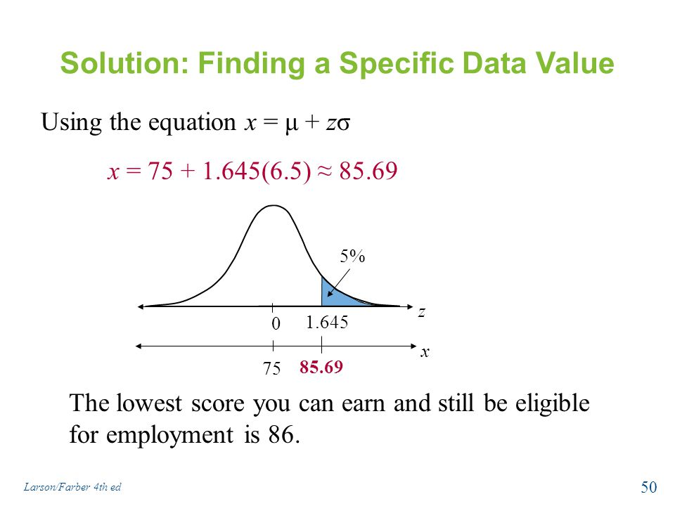 Solution: Finding a Specific Data Value Using the equation x = μ + zσ x = 75 + 1.645(6.5) ≈ 85.69 1.645 0 z 5% 85.69 75 x The lowest score you can ear