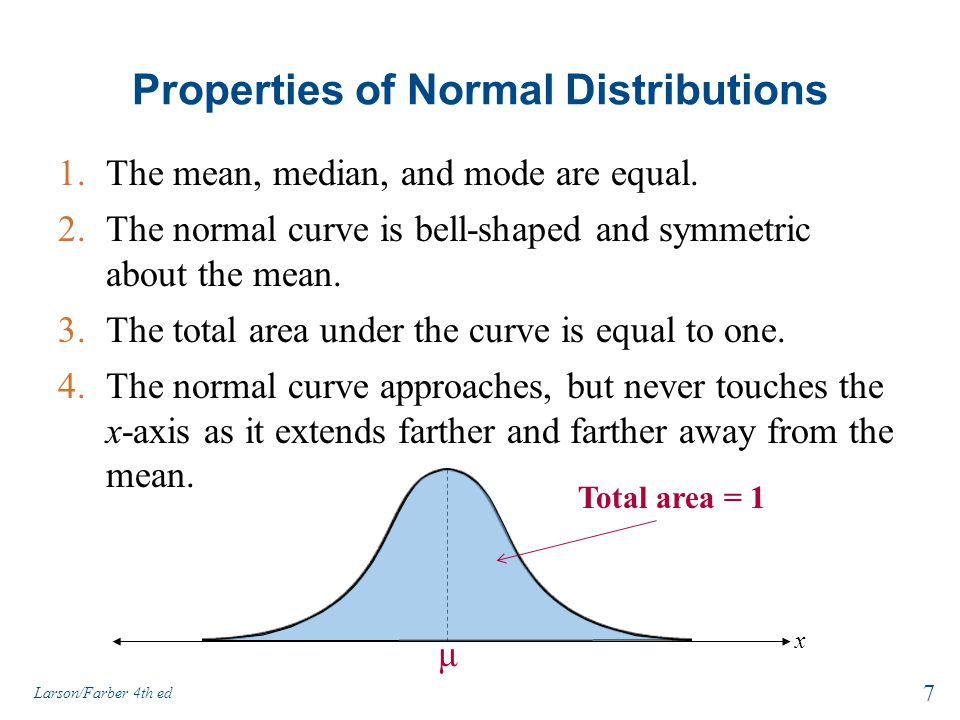 Section 1.2 Normal Distributions: Finding Probabilities 28 Larson/Farber 4th ed
