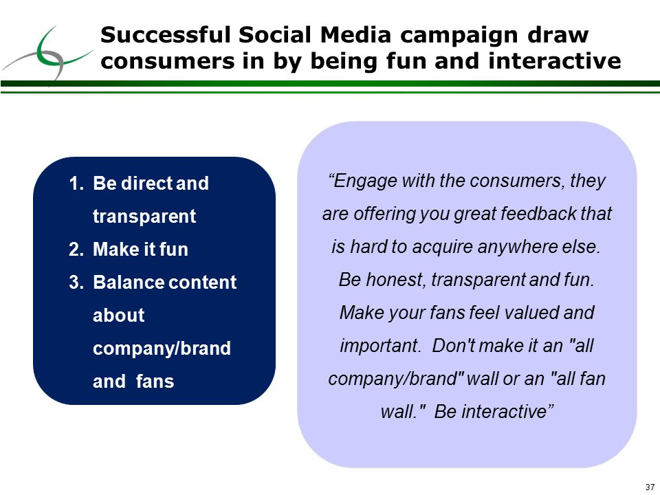 37 Successful Social Media campaign draw consumers in by being fun and interactive Engage with the consumers, they are offering you great feedback that is hard to acquire anywhere else.