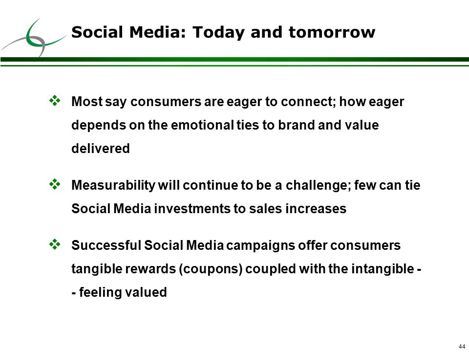 44 Social Media: Today and tomorrow  Most say consumers are eager to connect; how eager depends on the emotional ties to brand and value delivered  Measurability will continue to be a challenge; few can tie Social Media investments to sales increases  Successful Social Media campaigns offer consumers tangible rewards (coupons) coupled with the intangible - - feeling valued